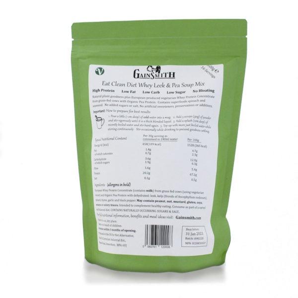 Eat Clean Diet Whey Leek 500g Rear Label