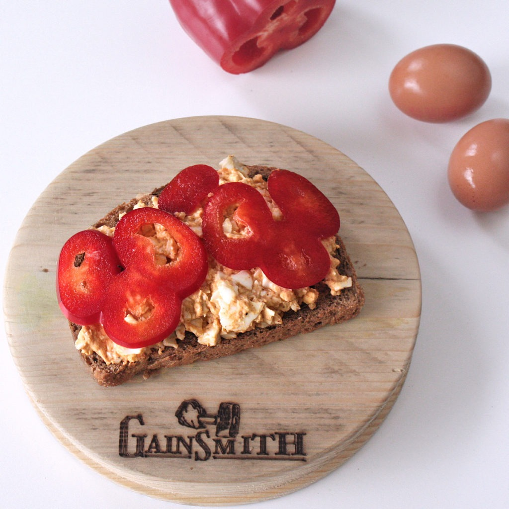 Cajun Egg Mayonnaise on Rye Bread with Red Pepper