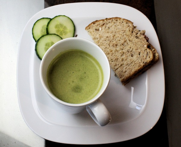 Diet Whey Broccoli Soup with Bacon Sandwich