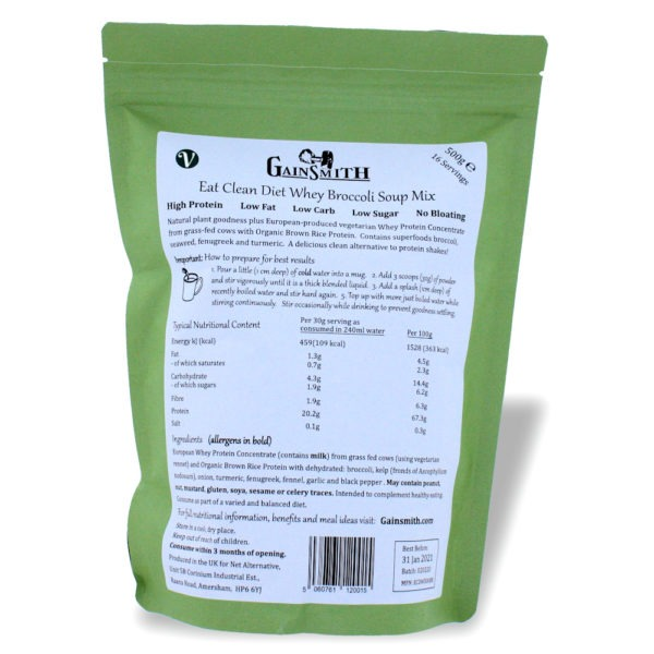 Eat Clean Diet Whey Broccoli Soup 500g Pouch Rear Label