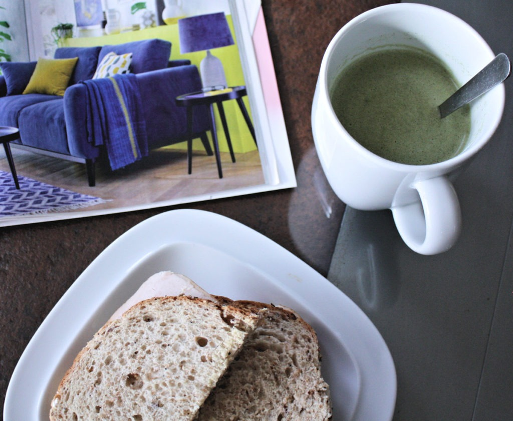 Diet Whey Broccoli Soup + Sandwich Working Lunch