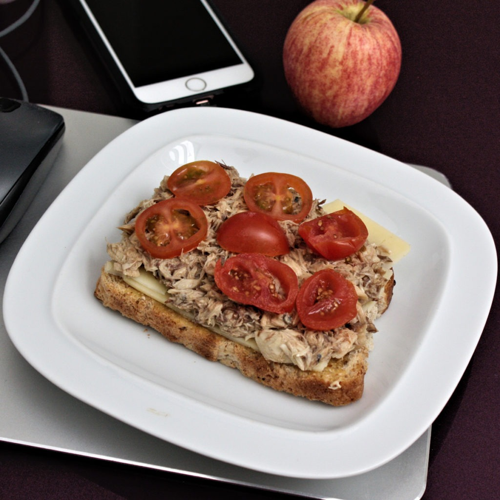 High protein mackerel toastie with cheddar and tomato