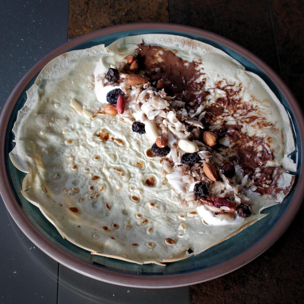 Fruit & Nut Chocolate Breakfast Pancakes