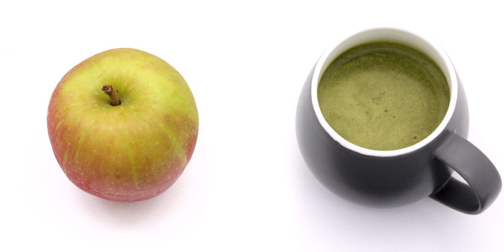 Apple and Mug of Eat Clean Diet Whey Soup