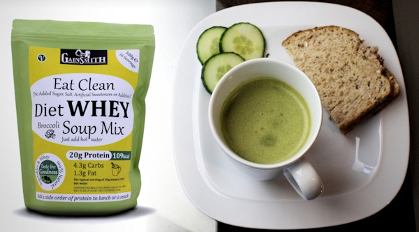 Diet Whey Protein Soup is perfect with a sandwich