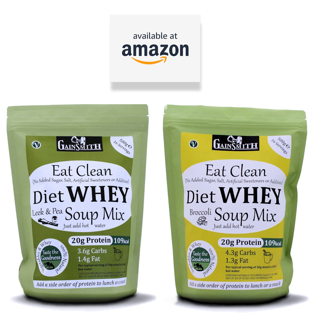Gainsmith Eat Clean Diet Whey Soups are available on Amazon
