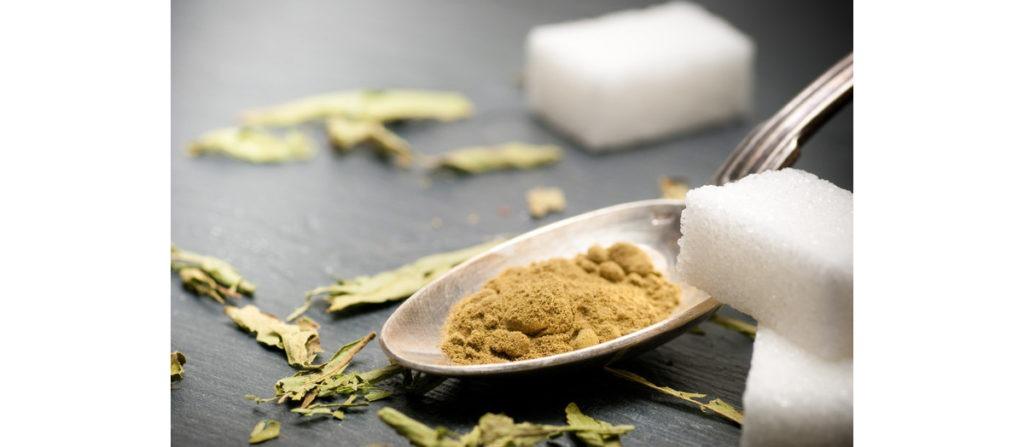 Dried Stevia Leaf, Stevia Powder and Table Sugar