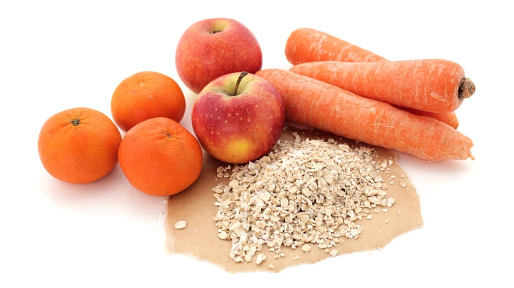 Soluble Fibre Foods - Carrots, Apples, Whole Oats and Citrus Fruits